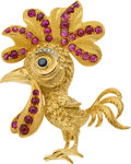 Estate Jewelry:Brooches - Pins, Buccellati Ruby, Sapphire, Diamond, Gold Brooch. ...