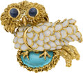 Estate Jewelry:Brooches - Pins, Tiffany & Co. Sapphire, Enamel, Gold Brooch. ...