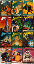 Books:Pulps, [Pulps]. Twelve Issues of Amazing Stories. 1947. Tatterededges with some toning and loss to spines. Overall very g...(Total: 12 Items)
