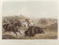 Prints, KARL BODMER (Swiss, 1809-1893). Indians Hunting the Bison, 1839. Etching with aquatint. 22-3/4 x 16-1/2 inches (57.8 x 4...