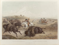 KARL BODMER (Swiss, 1809-1893) Indians Hunting the Bison, 1839 Etching with aquatint 22-3/4 x 16-