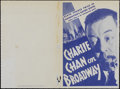"Movie Posters:Mystery, Charlie Chan on Broadway (20th Century Fox, 1937). Herald (6"" X9""). Mystery. Directed by Eugene J. Forde. Starring Warner O..."