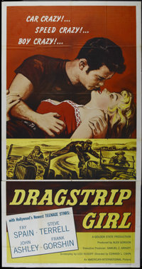 "Dragstrip Girl (AIP, 1957). Three Sheet (41"" X 81""). Action. Directed by Edward L. Cahn. Starring Fay Spain, S..."