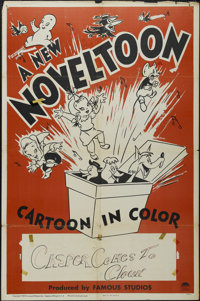 "Noveltoon Cartoons Stock (Paramount, 1949). One Sheet (27"" X 41""). Animated. Starring Casper the Friendly Ghos..."