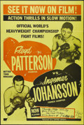 "Movie Posters:Sports, Patterson vs. Johansson (United Artists, 1961). One Sheet (27"" X 41""). Newsreel. Footage of the March 13, 1961 bout between ..."