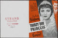 "Movie Posters:Crime, Thirty-Day Princess (Paramount, 1934). Herald (4.5"" X 6""). Comedy. Directed by Marion Gering. Starring Sylvia Sidney, Cary G..."