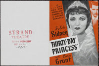 "Thirty-Day Princess (Paramount, 1934). Herald (4.5"" X 6""). Comedy. Directed by Marion Gering. Starring Sylvia..."