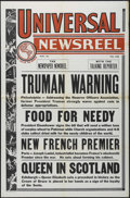 "Movie Posters:Short Subject, Universal Newsreel Stock (Universal, 1950s). Three Sheet (41"" X81""). Newsreel. Featuring stories about Presidents Truman an..."