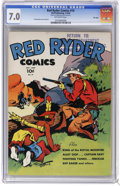 Golden Age (1938-1955):Western, Red Ryder Comics #19 File Copy (Dell, 1944) CGC FN/VF 7.0 Off-white pages. Fred Harman cover and art. One of the support peg...