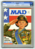 "Magazines:Mad, Mad #140 Gaines File pedigree (EC, 1971) CGC NM 9.4 White pages.Richard Nixon and Abbie Hoffman photos. ""Patton"" and ""Doris..."