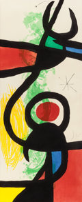 Prints, JOAN MIRÓ (Spanish, 1893-1983). Les Grandes Manoeuvres, 1973. Etching, aquatint and carborundum in color. 54-1/4 x 23-5/...