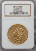 Liberty Double Eagles: , 1851-O $20 AU50 NGC. NGC Census: (85/320). PCGS Population (76/97).Mintage: 315,000. Numismedia Wsl. Price for problem fre...