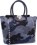 "Luxury Accessories:Bags, Valentino Blue Denim Camo Glam Rockstud Shopper Tote Bag .Excellent to Pristine Condition . 10"" Width x 10"" Heightx ..."