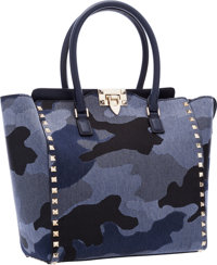 "Valentino Blue Denim Camo Glam Rockstud Shopper Tote Bag Excellent to Pristine Condition 10"" Wi"