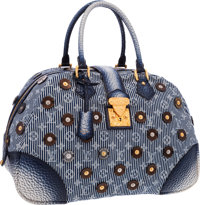 "Louis Vuitton Limited Edition Blue Polka Dot Trunks & Bags Bowly Bag Excellent Condition 16"" Widt"