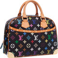 "Luxury Accessories:Bags, Louis Vuitton Black Monogram Multicolore Canvas Trouville Bag .Excellent Condition . 11"" Width x 8"" Height x 4""Depth..."