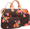 Luxury Accessories:Bags, Louis Vuitton Limited Edition Monogram Canvas Roses Speedy 30 Bag& Pochette by Stephen Sprouse . Excellent Condition ....