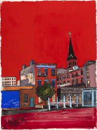BURHAN CAHIT DOGANÇAY (Turkish/American, 1929-2013) Black Church Tower in Red City, 1965 Mixed media