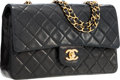 "Luxury Accessories:Bags, Chanel Black Quilted Lambskin Leather Medium Flap Bag with GoldHardware. Very Good To Excellent Condition. 10"" Width..."