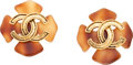 "Luxury Accessories:Accessories, Chanel Gold & Tortoise Lucite CC Earrings. ExcellentCondition. 1.75"" Width x 1.75"" Length. ..."