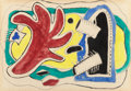 Post-War & Contemporary:Contemporary, FERNAND LÉGER (French, 1881-1955). Feuille rouge, 1950.Gouache, watercolor over pencil on paper, squared for transfer. ...