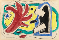 FERNAND LÉGER (French, 1881-1955) Feuille rouge, 1950 Gouache, watercolor over pencil on paper, squa