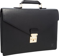 "Louis Vuitton Black Epi Leather Conseiller Ambassadeur Briefcase Excellent Condition 15"" Width x"