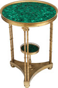 Furniture : French, A PAIR OF NEOCLASSICAL-STYLE GILT BRONZE AND MALACHITE TABLES, 20thcentury. 27-1/2 x 20 x 20 inches (69.9 x 50.8 x 50.8 cm)... (Total:2 Items)