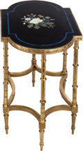 Furniture : Continental, A PAIR OF LOUIS XVI-STYLE GILT BRONZE TABLES WITH PIETRA DURA TABLETOPS, 20th century. 27-3/4 x 29 x 18-1/2 inches (70.5 x ... (Total:2 Items)