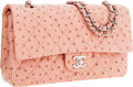"""Luxury Accessories:Bags, Chanel Pink Ostrich Medium Double Flap Bag with Silver Hardware. Excellent Condition. 10"""" Width x 6"""" Height x 2.5"""" Dep..."""