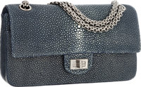 """Chanel Blue Stingray Small Reissue Double Flap Bag with Silver Hardware Pristine Condition 9.5"""" W"""