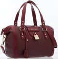 Luxury Accessories:Bags, Jimmy Choo Burgundy Leather Shoulder Bag with Gold Hardware. ...