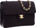"Luxury Accessories:Bags, Chanel Black Quilted Wool & Leather Flap Bag with GoldHardware. Excellent Condition. 8"" Width x 6"" Height x2.5"" Dept..."