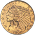 Proof Indian Half Eagles, 1908 $5 PR67 NGC....