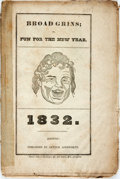 Books:Americana & American History, [Almanac]. Broad Grins; or, Fun for the New Year. 1832.Boston: Arthur Ainsworth, 1831. Large twelvemo. Publisher's ...