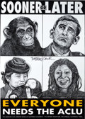 Memorabilia:Poster, ACLU Poster Signed by Artist Robbie Conal (c. 2000)....