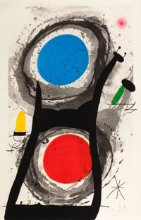 JOAN MIRÓ (Spanish, 1893-1983) L'Adorateur du Soleil, 1969 Etching and aquatint in colors with carbo
