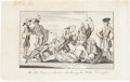 Political:Small Paper (pre-1896), Revolutionary War Era: Cartoon Engraving with Boston Tea PartyImagery....