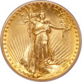 High Relief Double Eagles, 1907 $20 High Relief, Flat Rim MS64 PCGS....