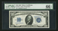 Small Size:Silver Certificates, Low Serial Number A00000014A Fr. 1701 $10 1934 Silver Certificate. PMG Gem Uncirculated 66 EPQ.. ...