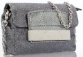 Luxury Accessories:Bags, Jimmy Choo Silver Shimmery Metallic Canvas Evening Bag with SilverHardware. ...