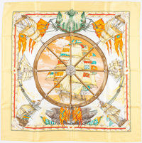 """Hermes 90cm Yellow & White """"Vive Le Vent,"""" by Laurence Thioune Silk Scarf"""
