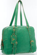Luxury Accessories:Bags, Prada Green Leather Shoulder Bag with Gold Hardware. ...