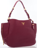 Luxury Accessories:Bags, Prada Raspberry Leather Hobo Bag with Gold Hardware. ...
