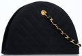 Luxury Accessories:Accessories, Chanel Black Quilted Satin Half-Moon Bag with Gold Hardware. ...