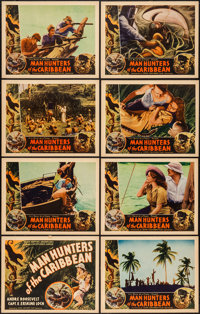 """Man Hunters of the Caribbean (Inter Continent, 1938). Lobby Card Set of 8 (11"""" X 14""""). Documentary. ... (Total..."""