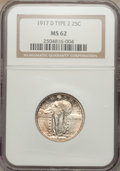 Standing Liberty Quarters, 1917-D 25C Type Two MS62 NGC. NGC Census: (68/255). PCGS Population: (92/425). CDN: $250 Whsle. Bid for NGC/PCGS MS62. Mint...
