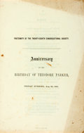 Books:Americana & American History, [Abolition]. [Theodore Parker]. Program from the Anniversary of theBirthday of Theodore Parker. Ripley & Co., 1861. Twelvem...