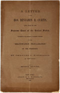 Books:Americana & American History, [Slavery]. Charles P. Kirkland. A Letter to the Hon. Benjamin R.Curtis, Late Judge of the Supreme Court of the United S...
