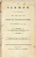 Books:Religion & Theology, Strong, Jonathan: A SERMON DELIVERED ON THE DAY OF ANNUAL THANKSGIVING, NOVEMBER 19, 1795...PUBLISHED BY DESIRE OF THE H...